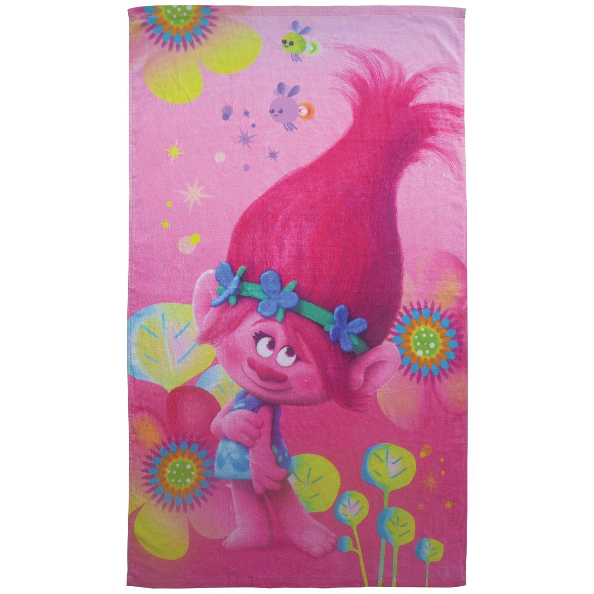 CTI Trolls Poppy Drap de Plage Coton Rose 70 x 120 cm