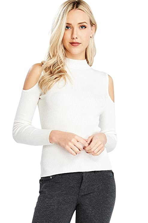 5427bdba53b00d Ambiance Women s Stretchy Ribbed Open Shoulder Long Sleeve Top at Amazon  Women s Clothing store