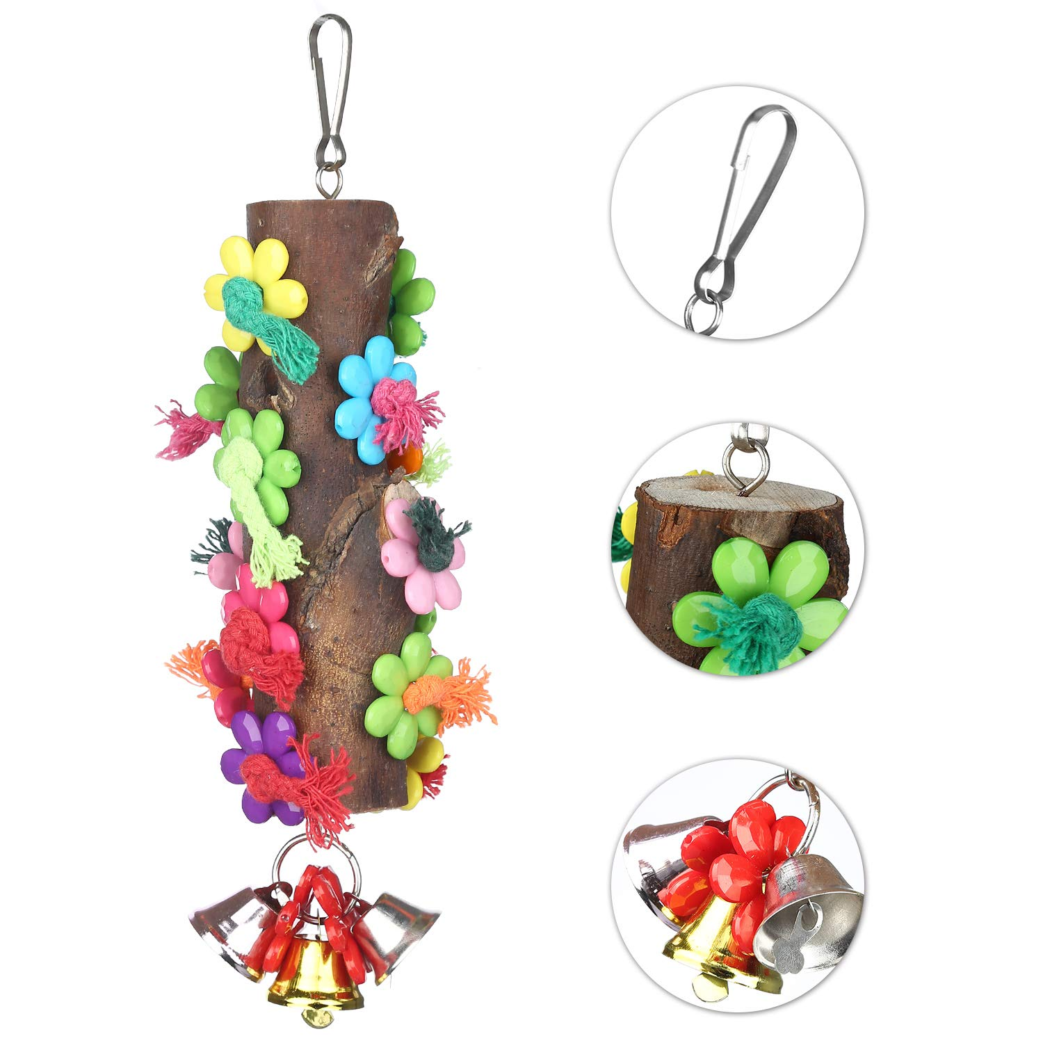 Wooden Bird Chew Toy, Parrot Hanging Toy, Bird Cage Toy with Acrylic Flowers, Cotton Knots and Bell for Parrots, Small Parakeets, African Grey, Son Conure, Cockatoo and Macaw, Cockatiel, Love Birds