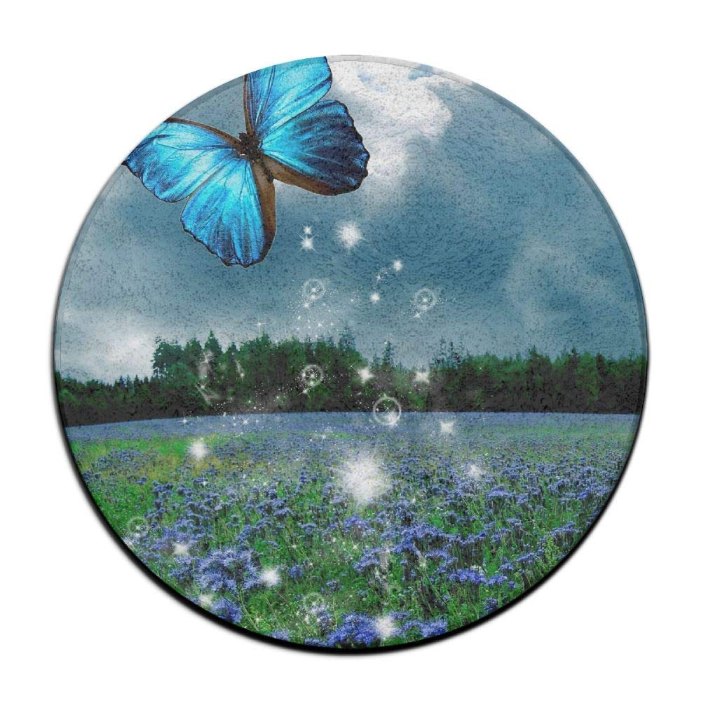 Non-Slip Round Rug Butterfly Wild Scenery Entrance Doormat Floor Pet Kids Mat Shoes Scraper Diameter 23.6 inch