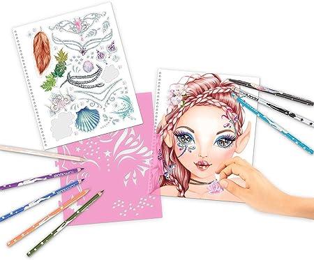 Depesche 10440 – Libro de Colorear TopModel Create Your Fantasy Face, Aprox. 24 x 21,8 x 1,8 cm, Multicolor