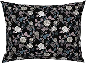 Roostery Pillow Sham, Floral Rose Garden Nature Plant Flowers Modern Print, 100% Cotton Sateen 26in x 26in Knife-Edge Sham