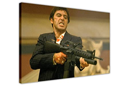 Scarface Shooting Scene Al Pacino Framed Film Canvas Prints Wall Art