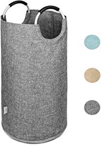 SweetMemo Premium Collapsible Laundry Hamper with Comfortable Handles, Foldable Hemp Fabric Basket, Easy-to-Carry Portable Tote Bag for Dorm, Closet, Storage (Large/82L, No Laundry Lettering - Grey)