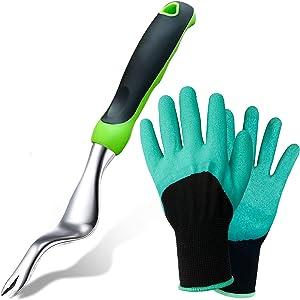 Tenozek Weed Puller & Gardening Gloves - Stainless Manual Hand Weeder Tool with Ergonomic Handle for Garden Lawn Yard,Gardening Gifts for Women