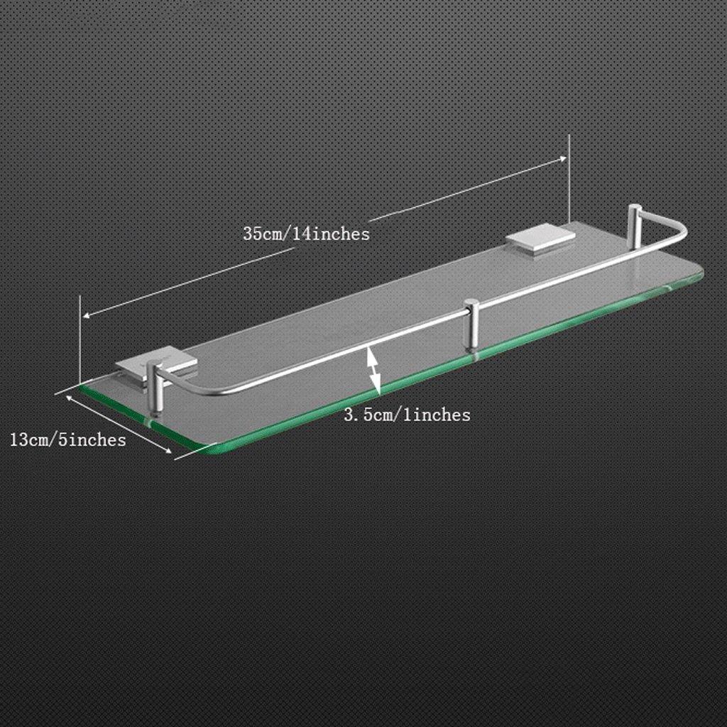 YXN Space Aluminum Bathroom Shelf Glass Shelf Bathroom Square Single Layer Metal Pendant Corner Dresser (Size : 35cm)