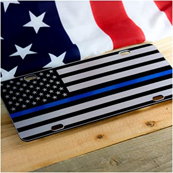 "1//8/"" Brushed Aluminum Composite HD American Flag License Plate Matte Black"