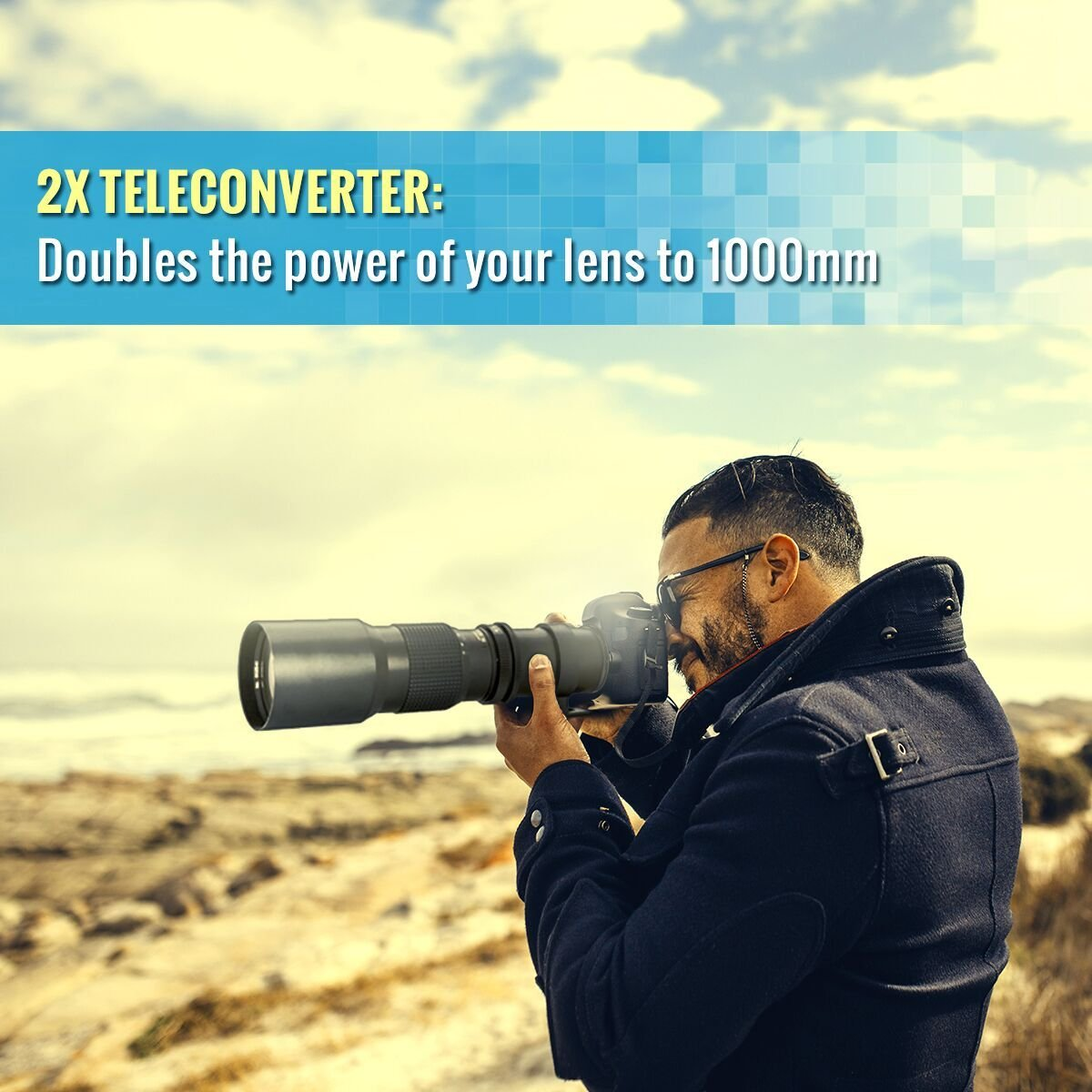 High-Power 500mm/1000mm f/8 Manual Telephoto Lens for Canon EOS Rebel T3, T3i, T4i, T5, T5i, T6, T6i, T6s, T7i, SL1, SL2, EOS 60D, 70D, 77D, 80D, 5D III, 5D IV, EOS 6D, 7D, 7D II Digital SLR Camera by Big Mike's (Image #3)