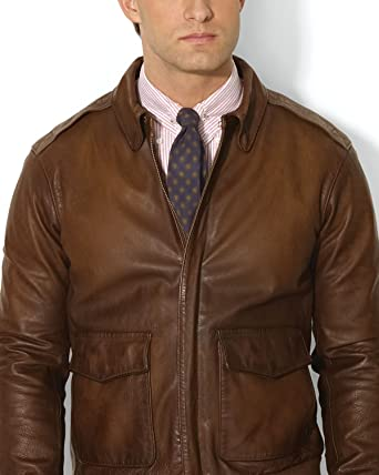 6550af03e Ralph Lauren Polo Brown Farrington Leather Bomber Jacket XXL at ...