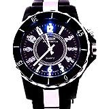Ohsen A056 Water Resist Men Women Quartz Sports Wrist Watch 7 Colour LED Light Watch - Black (58041)