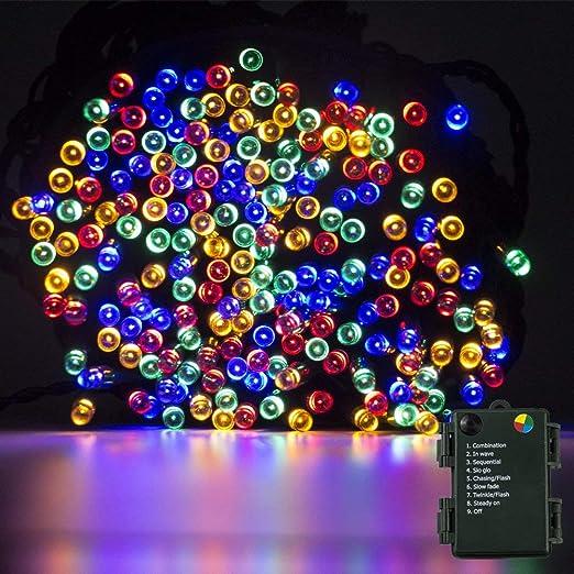 Luces de cuerdas Funciona con pilas, 200 luces LED de 20M / 66FT, 8
