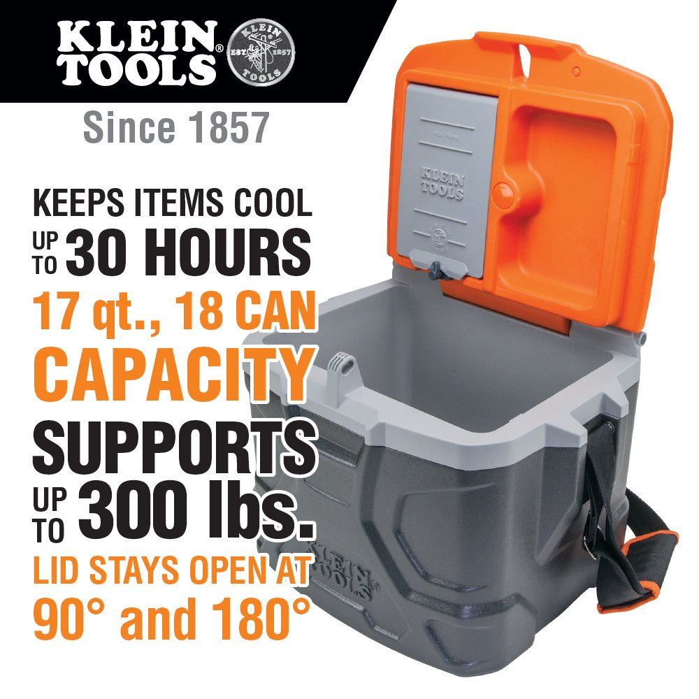 Work Cooler 17-Quart, Keep Cool 30 Hours, Seats 300 Pounds, Tradesman Pro Tough Box Klein Tools 55600 by Klein Tools (Image #2)