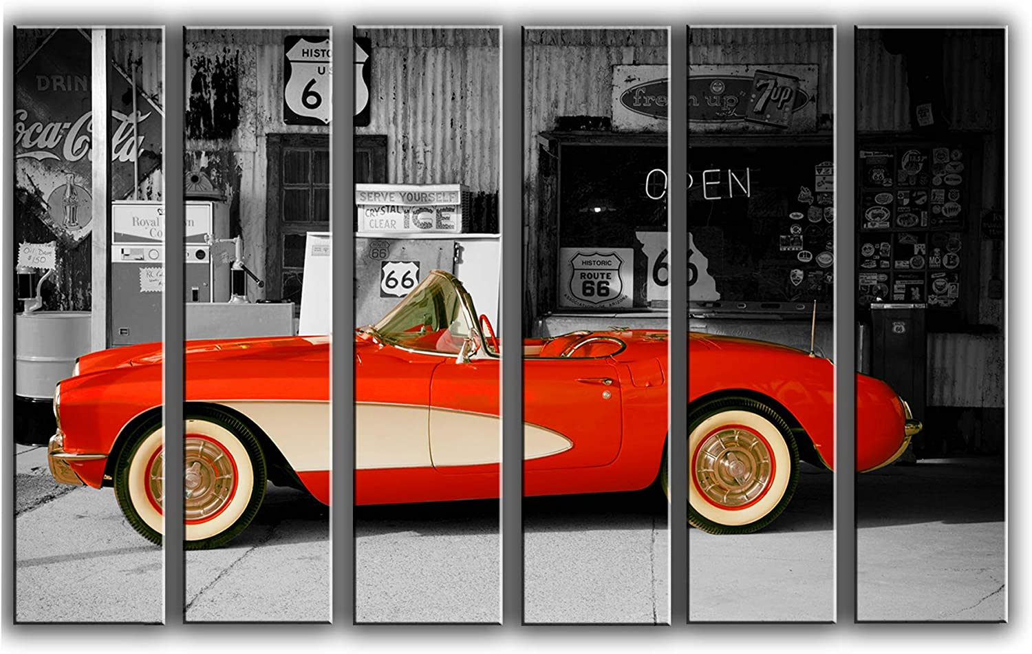 Large 6 Piece Vintage Corvette Wall Art Decor Picture Painting Poster Print on Canvas Panels Pieces - Sports Car Theme Wall Decoration Set - Route-66 Wall Picture for Showroom 44 by 67 in