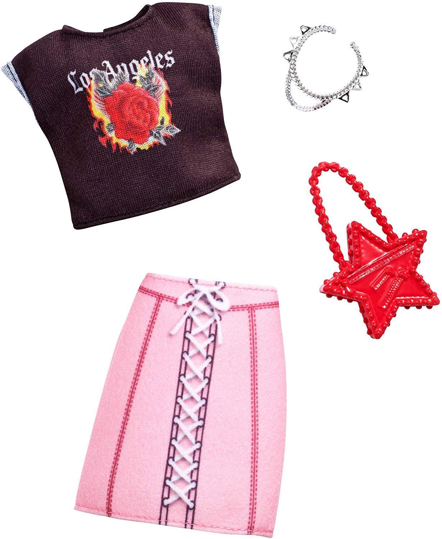 Kleider Kleidung Kompletset Shirt Los Angeles und Rock mit Schn/ürung Mattel Barbie Mode kompatibel mit Barbie