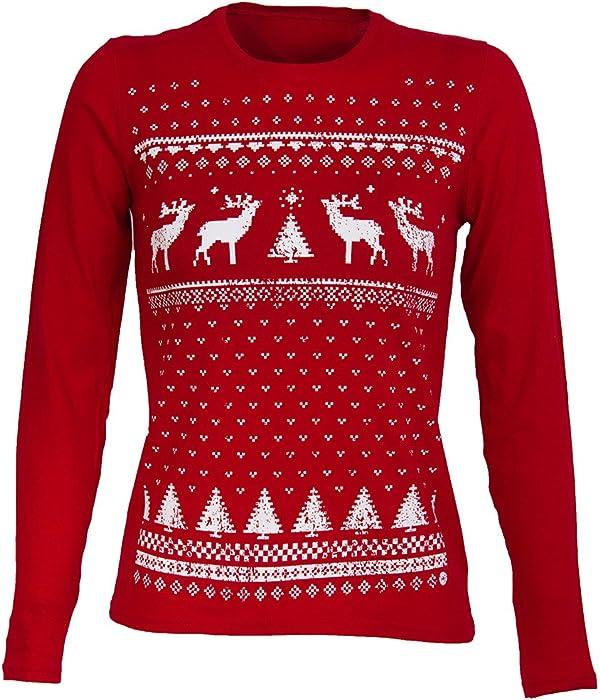 942ef20dd1d Retro Christmas Reindeer Long sleeved top - Womens - Deep Red (Small -UK 8