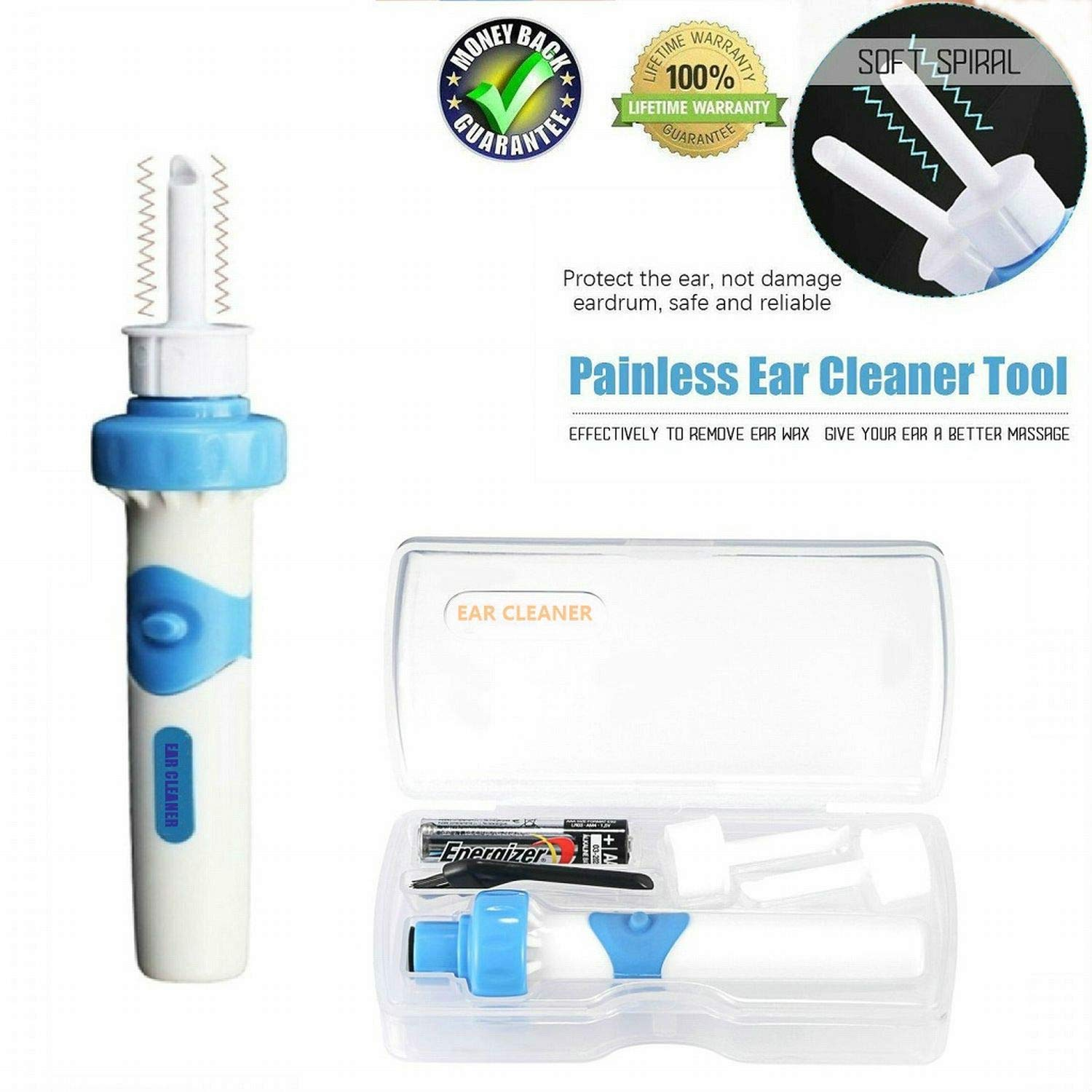 Portable Automatic Electric Vacuum Ear Wax Earwax Removal Tool Kit, Ear Vacuum Cleaner Easy Earwax Remover Soft Prevent Ear-Pick Clean Tools Set for Adults Kids