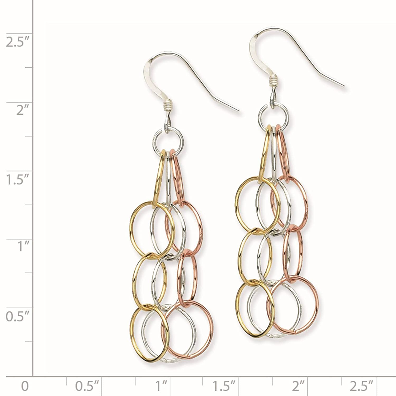 925 Sterling Silver Tri-colored Polished Oval Links Dangle Earrings