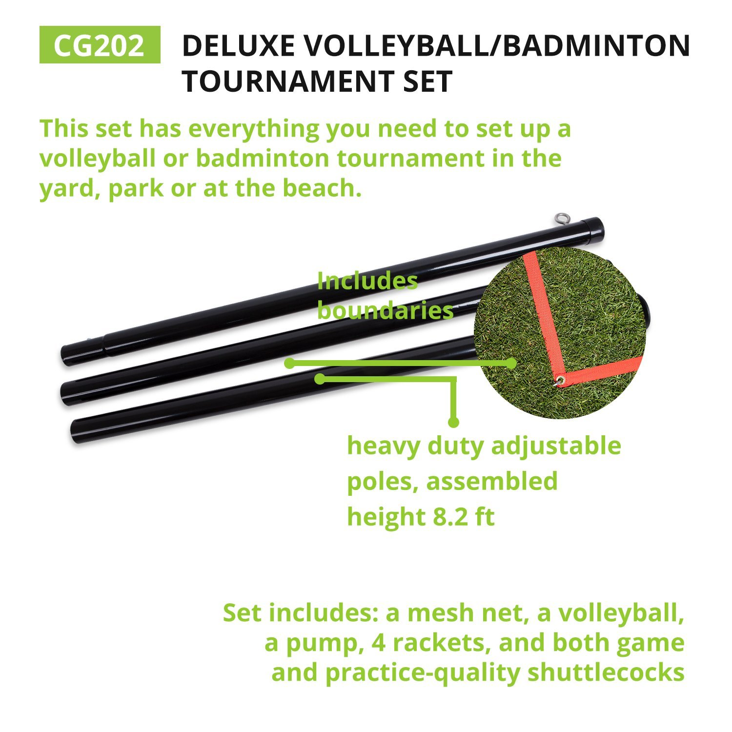 Champion Sports Volleyball & Badminton Set: Net, Poles, Ball, Rackets & Shuttlecocks - Portable Equipment for Outdoor, Lawn, Beach & Tournament Games by Champion Sports (Image #3)