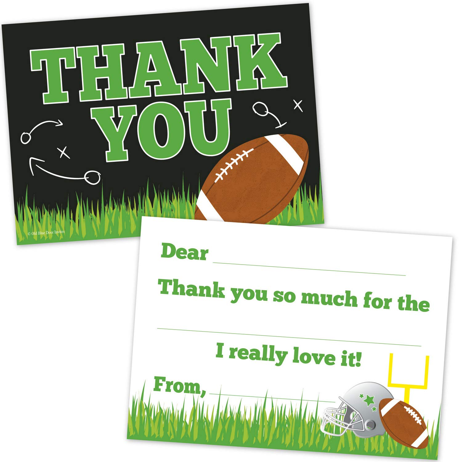 Amazon Football Birthday Party Fill In The Blank Thank You Notes For Boys