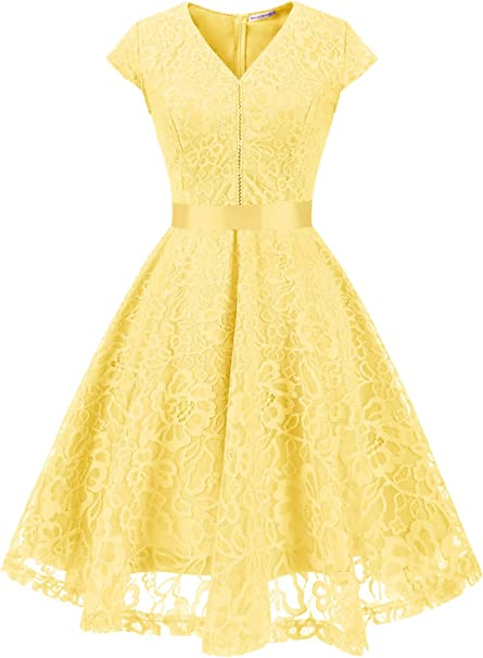 TALLA XS. MUADRESS Fashion Vestido Corto De Fiesta Elegante Mujer De Encaje Escote en V Estampado Flor Vestido Boda Cóctel Amarillo XS