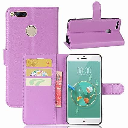 Guran® Funda de Cuero PU Para ZTE Nubia Z7 Mini Smartphone Función de Soporte con Ranura para Tarjetas Flip Case Cover Caso-púrpura