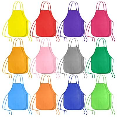 KUUQA 24 Pack 12 Colors Kids Art Aprons Children Painting Aprons Art Smocks for Craft, Kitchen, Classroom: Toys & Games