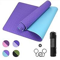 GISALA TPE Yoga Mat Fitness Mat Gynastic Mat Training Mat for Yoga, Easy-Care Yoga Mat with Shoulder Strap & Bag