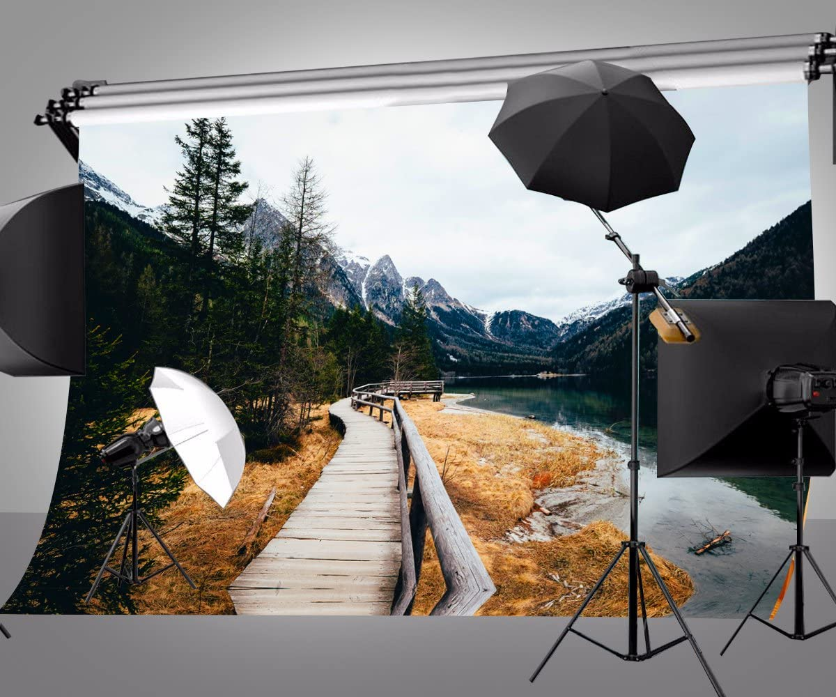 Lyly County 7/×5ft The Path Along The Stream is at The Foot of The Snowy Hill Backdrop Cloth Boot Background Studio Props Photography LYDAN020