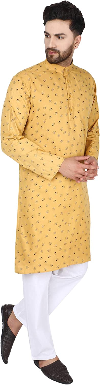 SKAVIJ Uomo Tunica Cotone Kurta Pigiama Set Vestito da Yoga Indiano