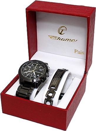 Caja de regalo con reloj de caballero y pulsera de acero inoxidable plateada.: Amazon.es: Relojes
