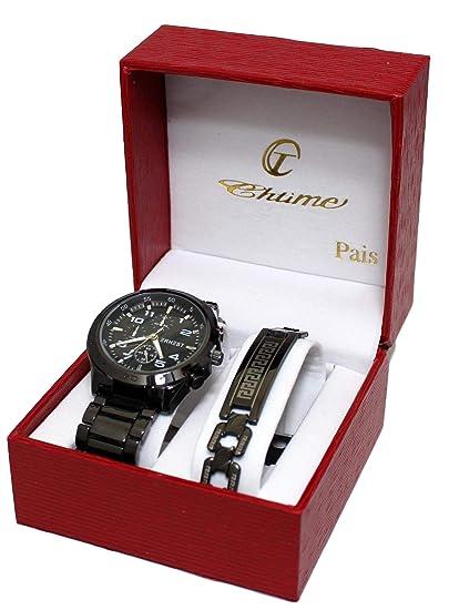 f80f62844c59 Caja de regalo con reloj de caballero y pulsera de acero inoxidable  plateada.  Amazon.es  Relojes