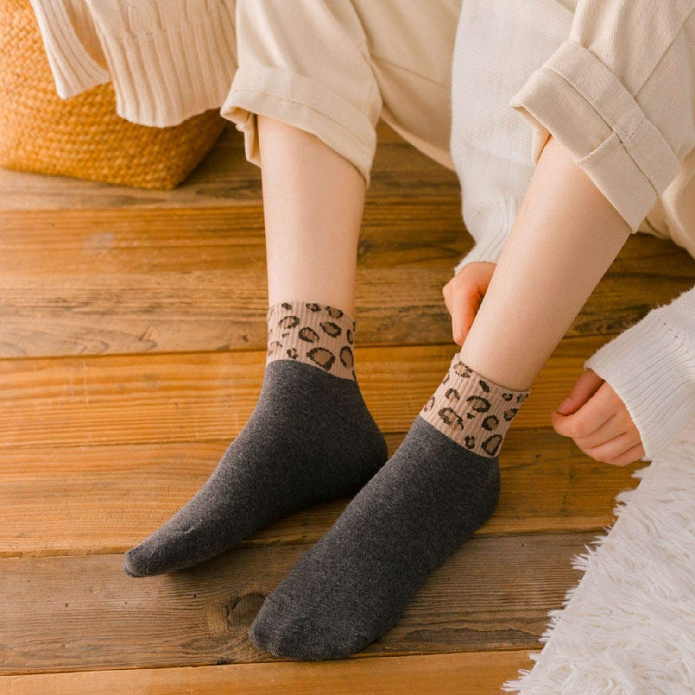 Leopard Women Socks Spring Short Socks Cute Animal Leopard Print Ankle Socks