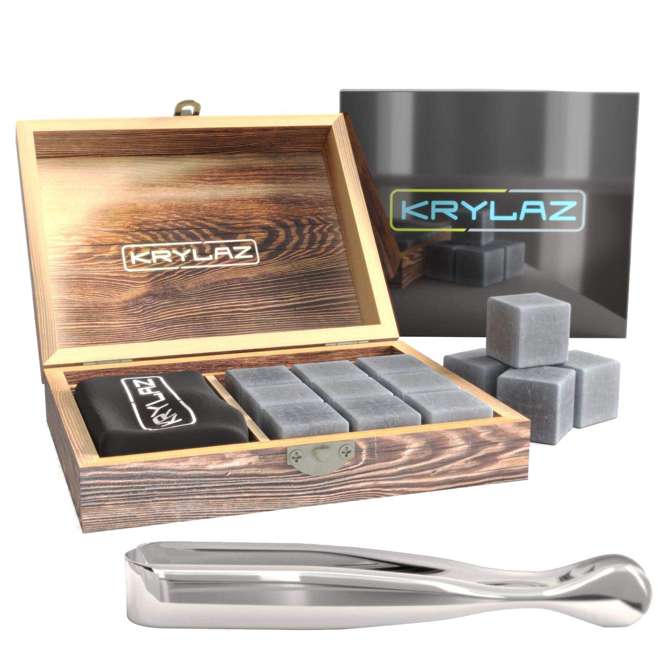 Whiskey Stones Gift Set for Men - Scotch Ice Rocks for Drinks - Chilling Stones Cubes Set in Box with 9 Pack Whisky Stones and Tongs Krylaz