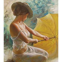 KaiDeng Charming Lady ombrello Frameless DIY Paint by Numbers olio pittura decorazione