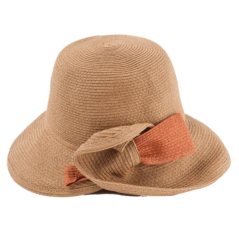 BROWN Cool Hat Summer Hat, Sun Hat Women Summer Beach Cap Straw Braid Floppy Foldable Packable Travel, 4 colors Optiona
