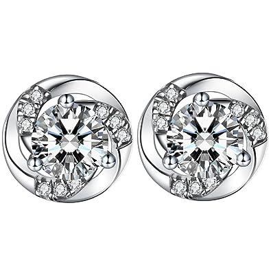 J.SHINE Stud earrings silver for women girls 3A 5mm zircon flower twist gift jewellery 39iIlRcY