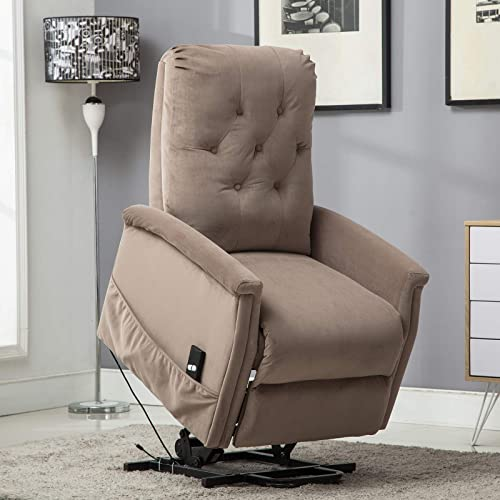 ANJ Power Lift Recliner Chair for Elderly, Heavy Duty Fabric Living Room Chair Single Sofa Seat with Remote Control Pocket Light Coffee
