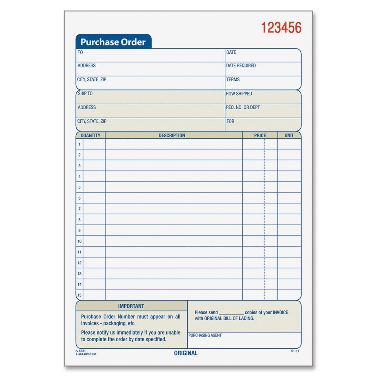 Amazon.com : Adams Purchase Order Book, 5.56 X 8.44 Inch, 3 Part,  Carbonless, 50 Sets, White, Canary, Pink (TC5831) : Blank Purchase Order  Forms : Office ...  Local Purchase Order Form