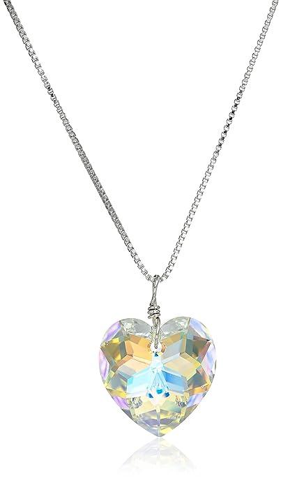 38948160e Sterling Silver Swarovski Elements Crystal Aurora Borealis Heart Pendant  Necklace, 18