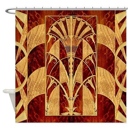CafePress Harvest Moons Art Deco Panel Decorative Fabric Shower Curtain 69quot