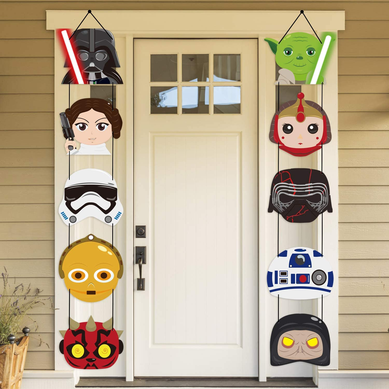 MALLMALL6 Galaxy War Porch Sign Banner Door Decorations Space War Banners Birthday Party Supplies Decoration Universe Planet War Door Signs Flag Wall Hanging Garland Room Decor Party Favors for Kids