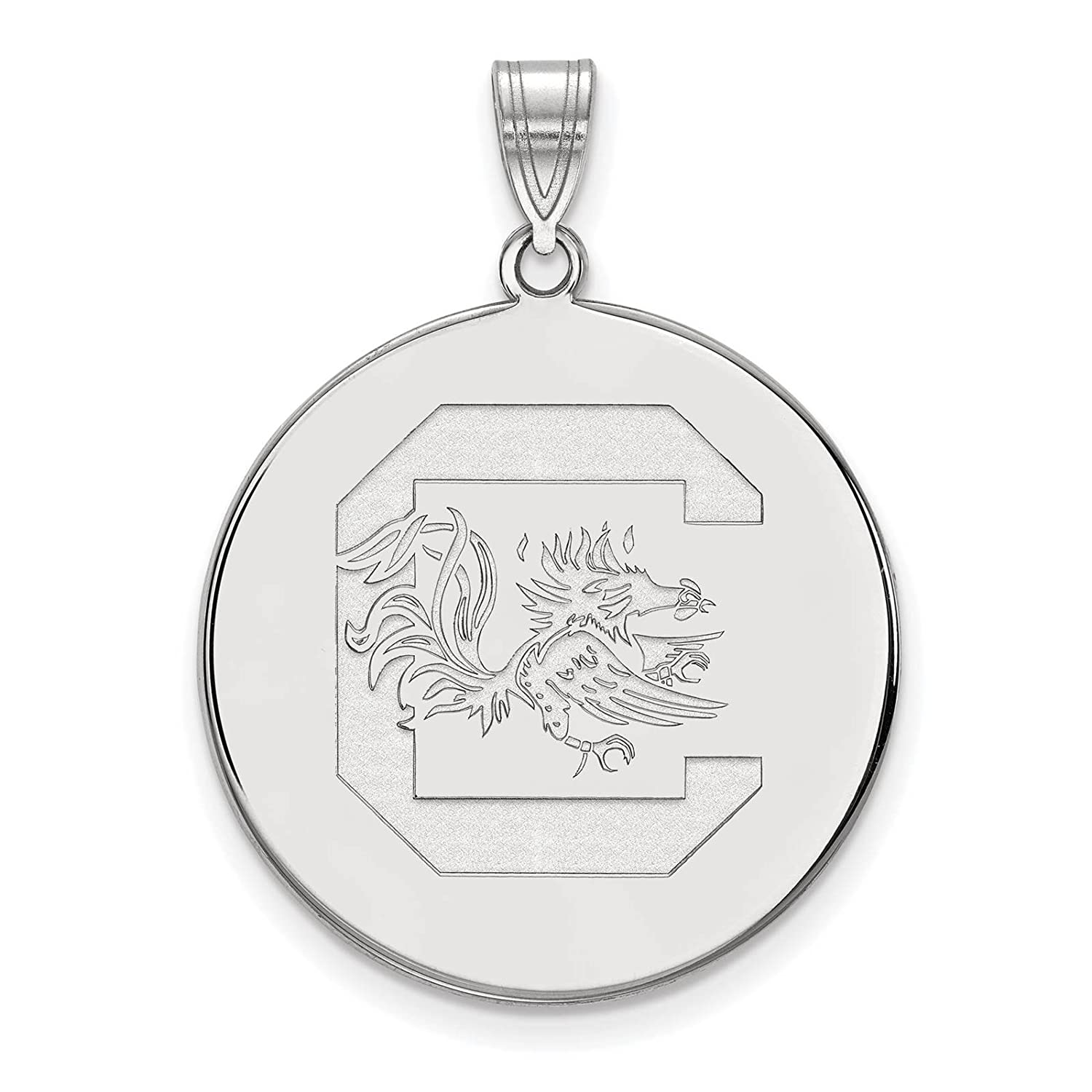 925 Sterling Silver Rhodium-plated Laser-cut University of South Carolina XL Disc Pendant