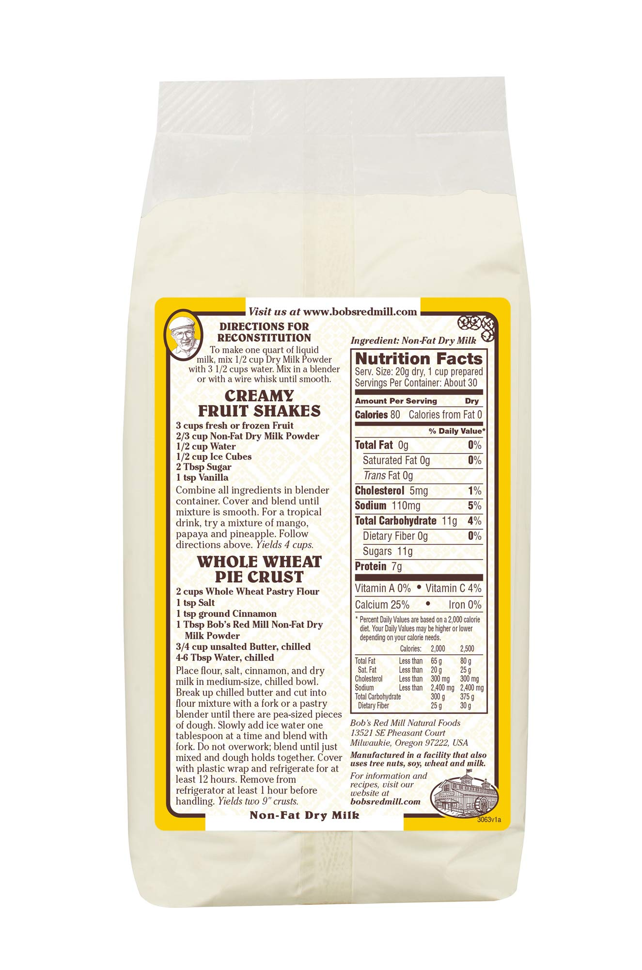 Bob's Red Mill Non-Fat Dry Milk Powder, 22 Oz (4 Pack) by Bob's Red Mill (Image #2)