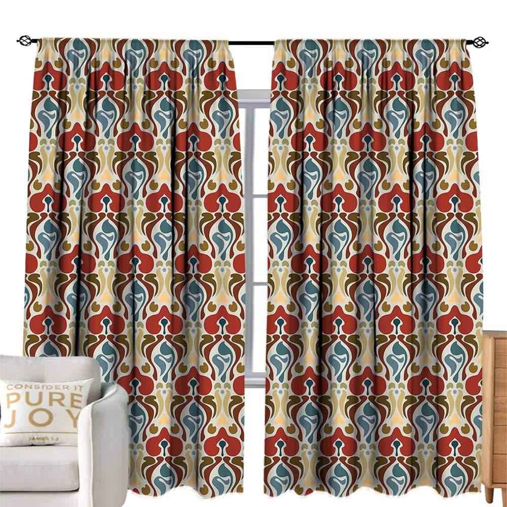 color10 W120 xL84  cobeDecor Extra Wide Curtains Red and Black Queen Size Tribal Mandala Ethnic Oriental Design Flowers and Leaves Frame Image Vermilion Black Privacy Predection W84 xL84