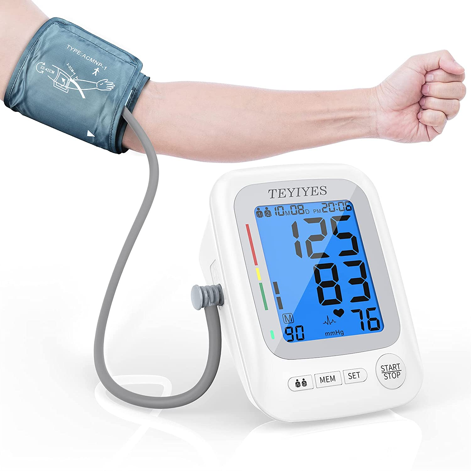 Blood Pressure Cuffs for Home Use TEYIYES Accurate Automatic Digital Upper Arm BP Machine Irregular Heartbeat Detect with Adjustable 8.5-16.5 Inch XL Cuff 2*90 Memory Backlit Extra Large LCD Display