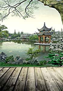 Laeacco 5X7FT Photography Background Chinese Style Garden Ancient Building Water Lake Landscape Wooden Floor Plank Floor Scene Backdrop 1.5(W) X2.2(H) M Photo Studio Props
