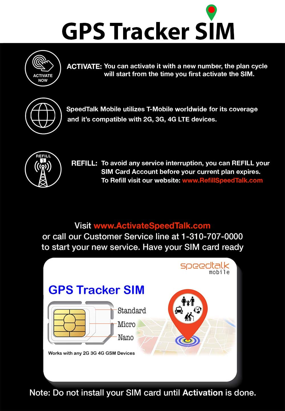 GPS Tracker Triple Cut SIM Card Starter Kit - No Contract (Universal SIM: Standard, Micro, Nano) For 2G 3G 4G Devices - Global Coverage