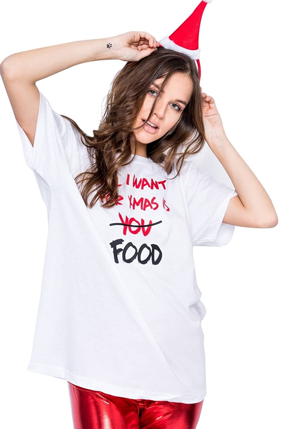 Amazon All I Want For Christmas Is Food T Shirt Tee Top Womens