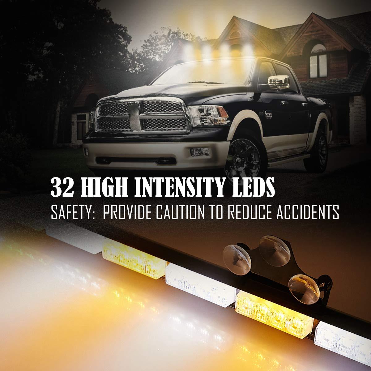 Emergency Light Bar 35.5 Inch 13 Flash Patterns 32 Led Warning Lights Traffic Advisor Bar Yellow Strobe Safety Lights with Cigar Lighter 35. 5 Inch, Yellow