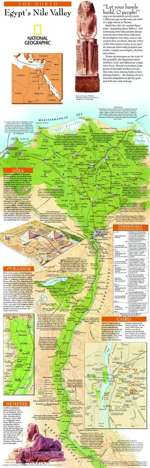10 x 31.25 inches Egypts Nile Valley North Wall Map Paper Rolled National Geographic